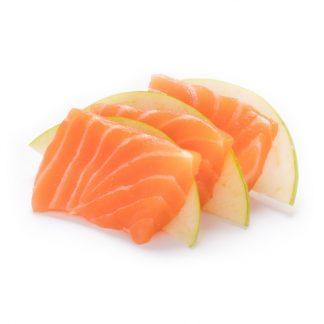 Sashimi de salmão e maçã verde